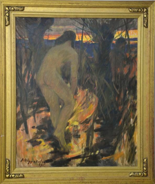 B Hypakober: nude, oil on canvas, 60 by 50cm.