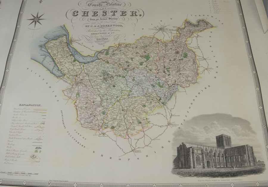 A group of five 19th century maps by Greenwood & Co to include Chester, Salop, Warwick etc - Image 2 of 2