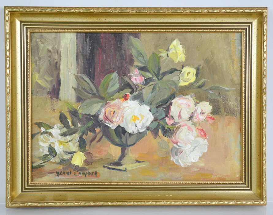 Meriel Campbell (20th century): still life of flowers, oil on canvas, 24 by 34cm.
