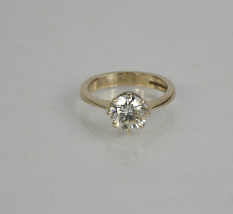 An 18ct white gold diamond solitaire, 1.57ct diamond approximately, size J, colour IJ, SI2, 4.1g. - Image 2 of 5