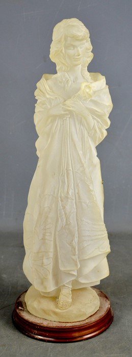 An opaque resin model of a female figure, 40cm high.