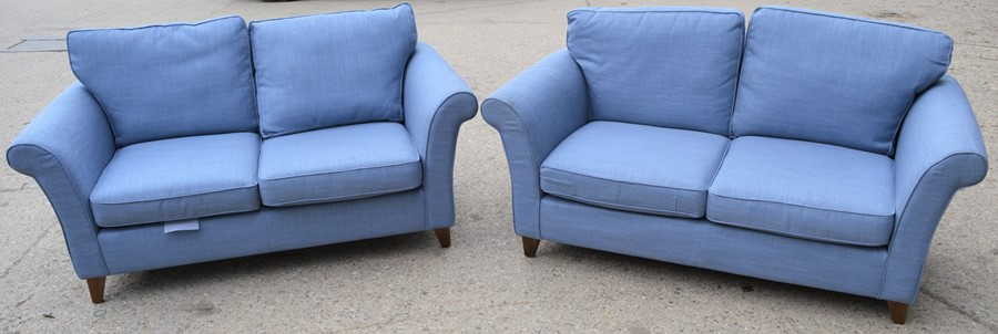 A pair of blue John Lewis settees, 179cm wide by 93cm by 83cm high