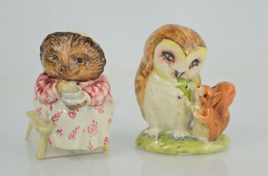 """Two Beswick Beatrix Potter figures """" Mrs Tiggy Winkles Takes Tea"""" and """"Old Mr Brown"""""""