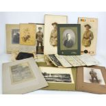 A group of military related printed ephemera, including photographs and hand written letters.