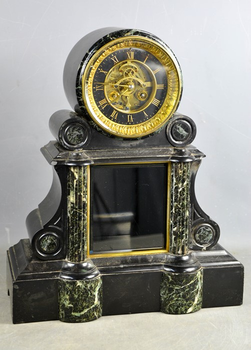 A large 19th century slate and marble mantle clock with black and gilt metal chapter ring