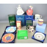 A group of Royal Doulton, Wedgwood, Royal Worcester, Belleek cups, vase, plates and figurines in