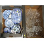 A quantity of blue and white pottery including large Victorian tureen, Burslem bowls and plates