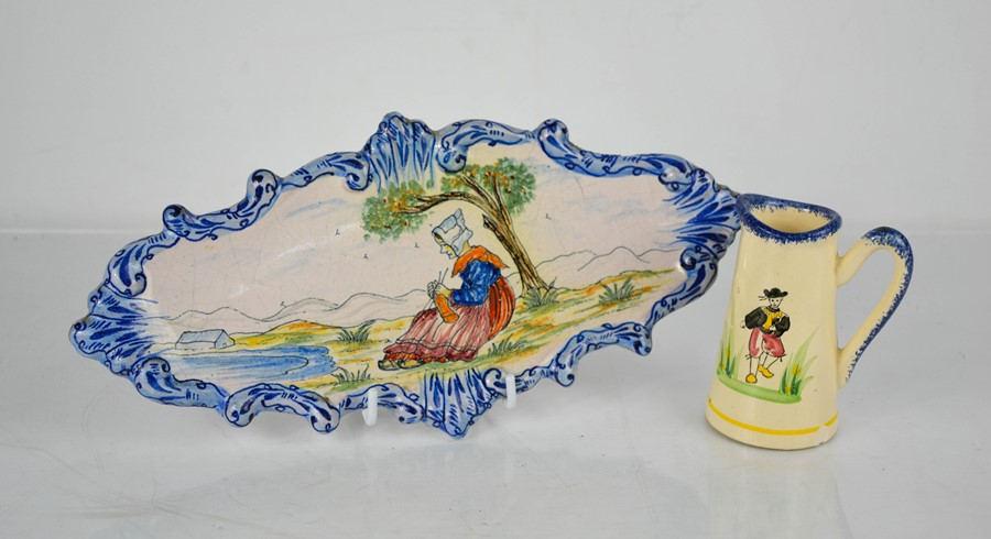 A French Quimper pottery dish and similar milk jug.