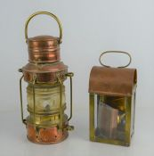 Two copper and brass lanterns, one of cylindrical form