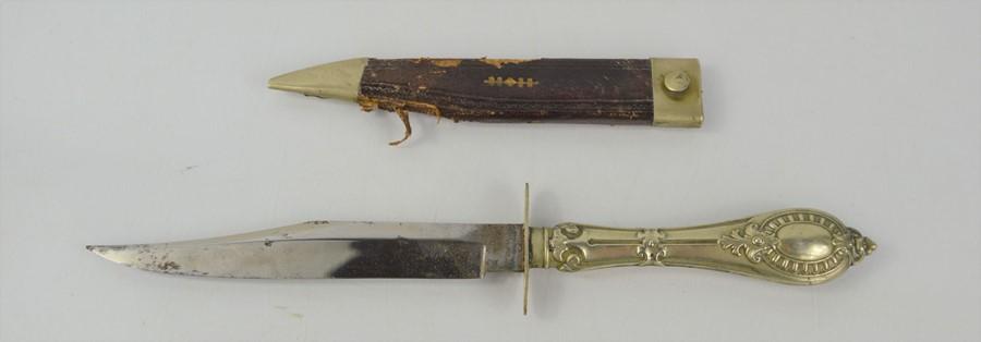 An American Civil War period white metal Cutlery handle Bowie Knife