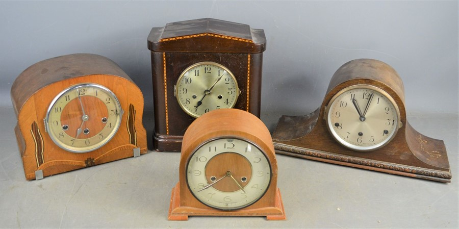 Four 1930s mantle clocks of differing style