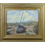 Mary Martin (20th century): fishing boats in the sand, oil on board, 39 by 48cm.