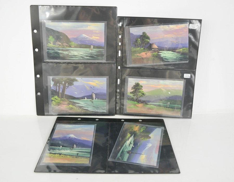 A group of nine hand painted postcards, depicting Japanese scenes sent in 1930 by WT Bartlett,