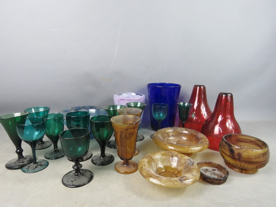 A quantity of vintage glass ware to include smokey glass part dressing set, green glasses and art