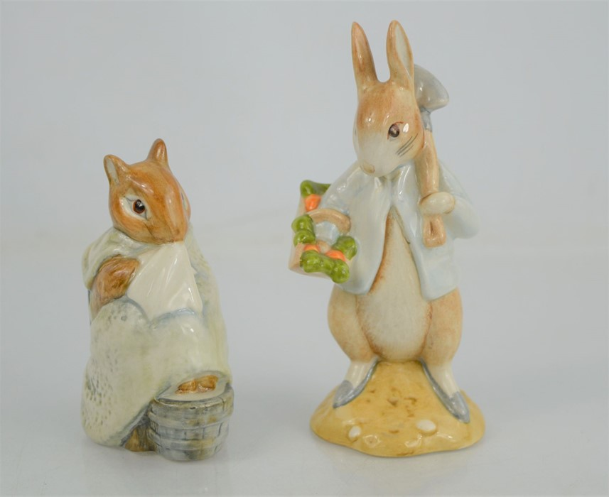 """Two Beswick and Royal Doulton Beatrix Potter figures """"Peter Rabbit Gardening"""" and """"Chippy Hackee"""""""