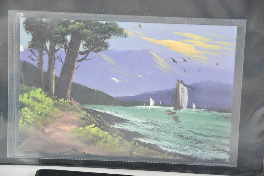 A group of nine hand painted postcards, depicting Japanese scenes sent in 1930 by WT Bartlett, - Image 3 of 3