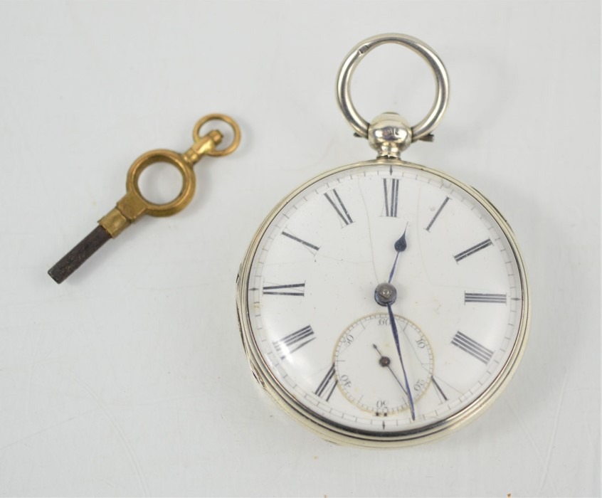 A 19th century Savory & Sons Cornhill London silver pocket watch with Roman numeral dial and key,
