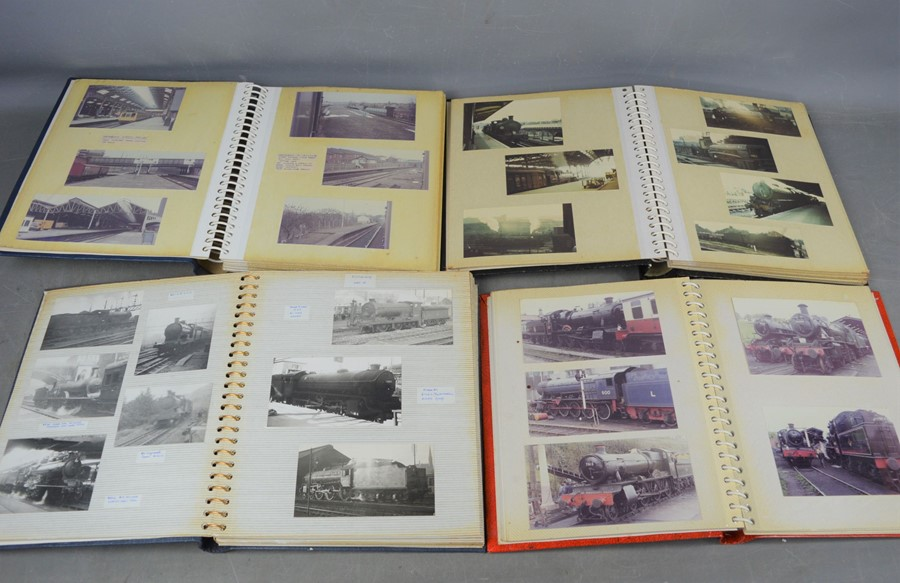 Four vintage photo albums of steam and diesel locomotives