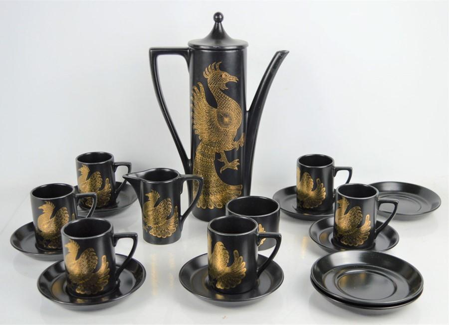 A Portmeirion pottery Phoenix pattern coffee set by John Cuffley