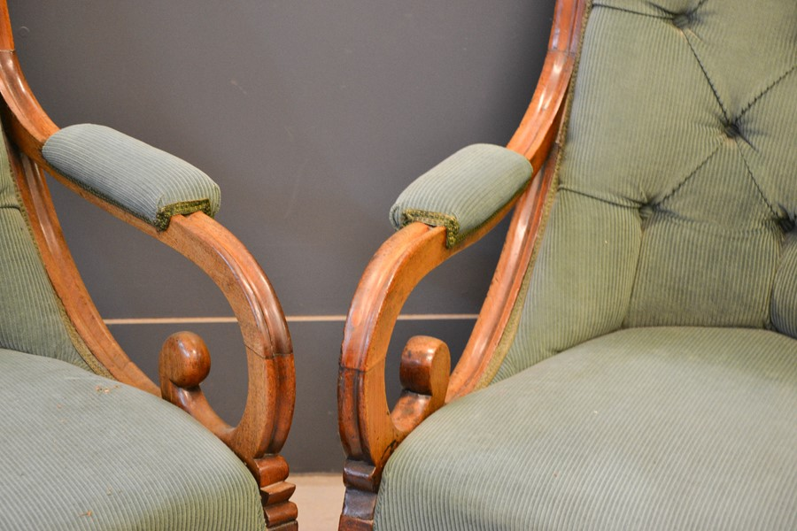 A pair of 19th century William IV mahogany chairs, with scroll arms, serpentine seat fronts, - Image 2 of 2