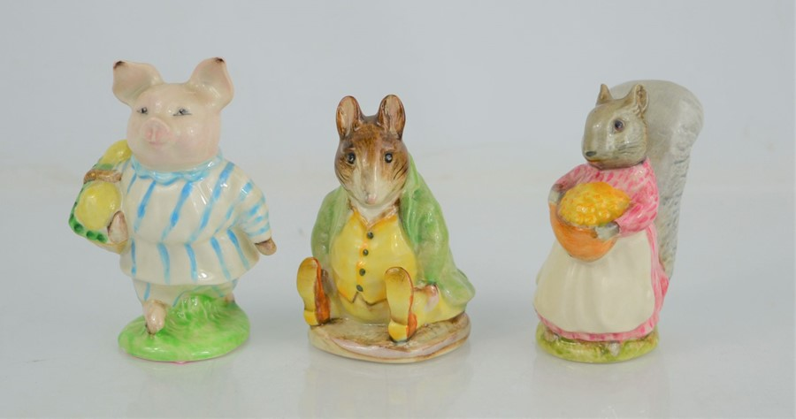 """Three Beswick Beatrix Potter figures """"Goody Tiptoes"""" """"Little Pig Robinson"""" and """"Samual Whiskers"""""""