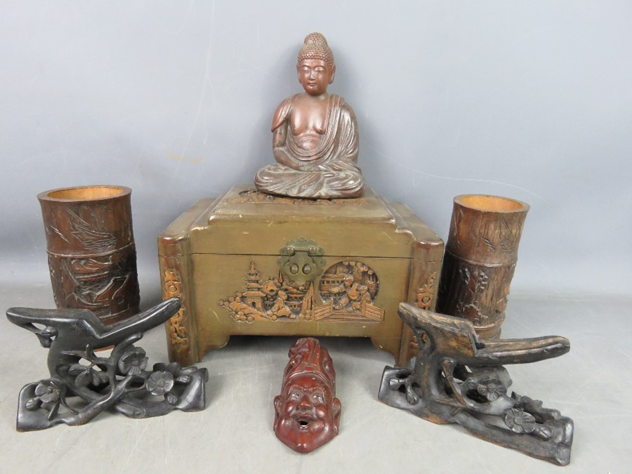 A group of Chinese collectibles to include two bamboo brush pots, a terracotta Buddha, camphor box