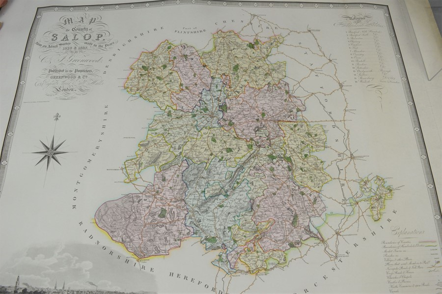A group of five 19th century maps by Greenwood & Co to include Chester, Salop, Warwick etc