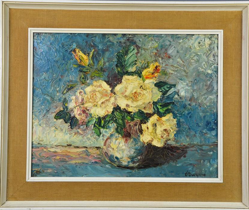 O'Dwynne (20th century): still life of roses in a vase, oil on board, 34 by 44cm.