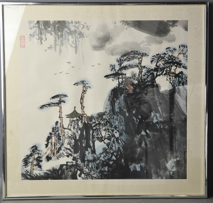 Li Huasheng (20th century): pavilions under pine trees in a rocky landscape, ink and colour on