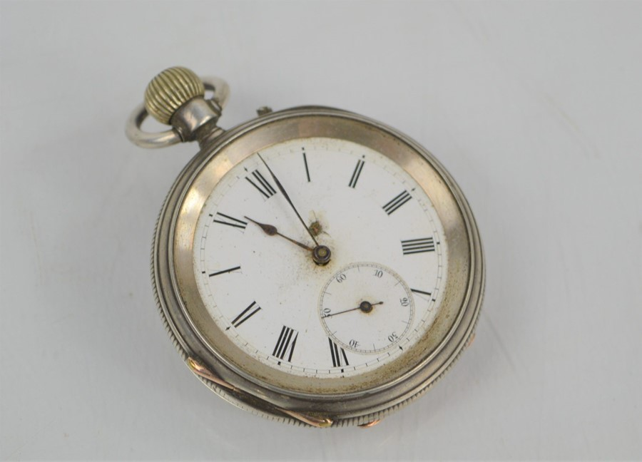 A 19th century silver pocket watch with Roman Numeral dial