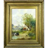 C Thompson (19th century): cottage in landscape with chickens to the fore, 44 by 34cm