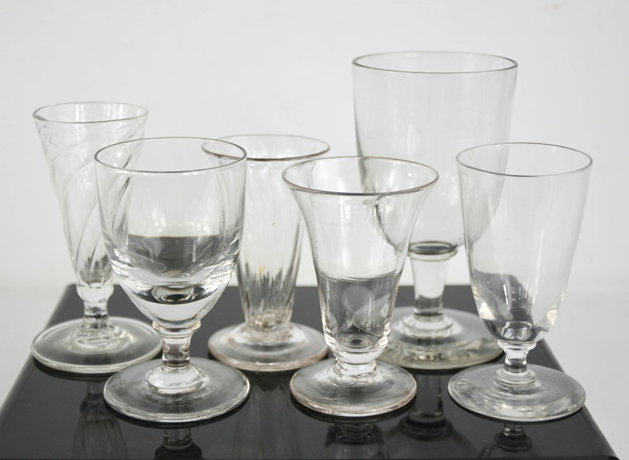 A Group of Georgian and later glasses of various form.