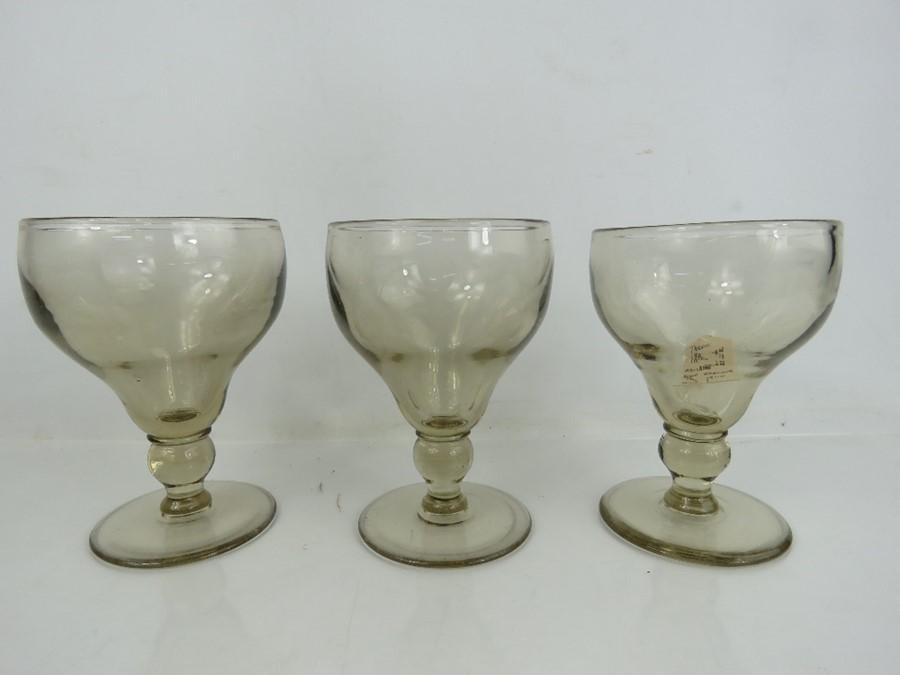 Three Edwardian wine goblets circa 1900