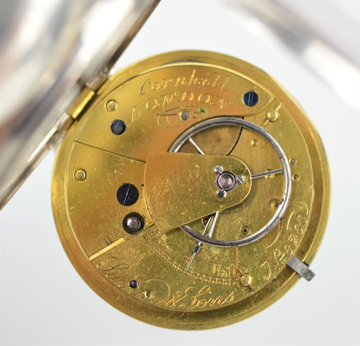 A 19th century Savory & Sons Cornhill London silver pocket watch with Roman numeral dial and key, - Image 3 of 3