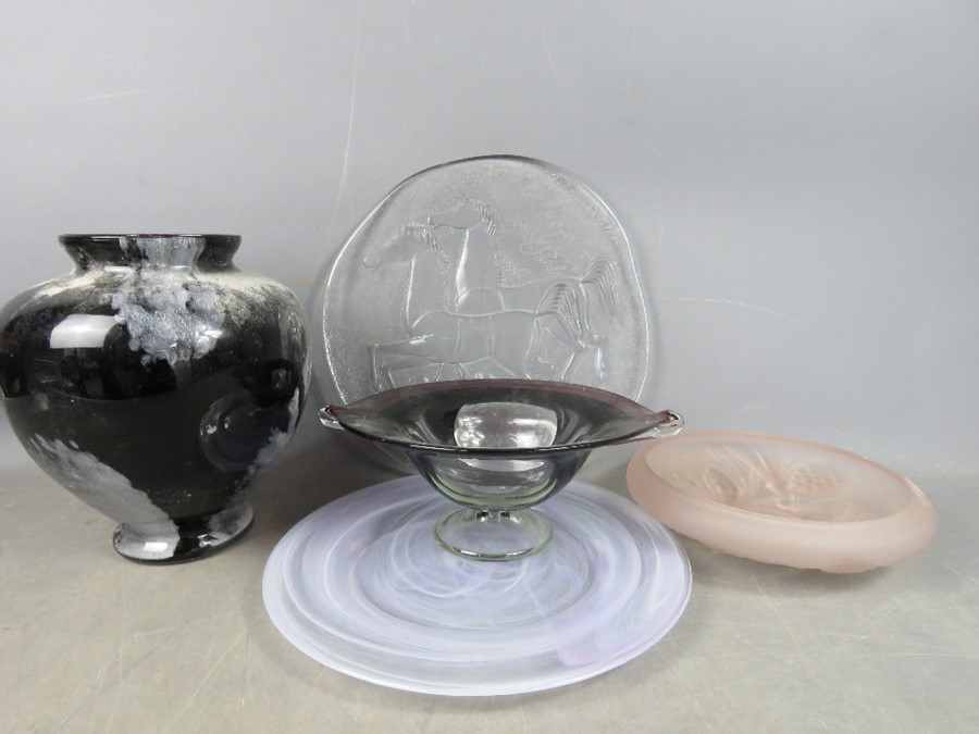 A German pressed glass charger depicting horses, a studio glass charger, a pale pink retro bowl, a