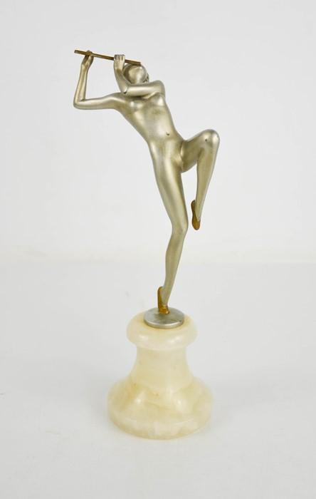 Josef Lorenzl (1892-1950): Flute Player, Art Deco figurine circa 1930, matt silver patination, - Image 3 of 5
