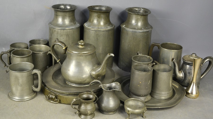 Three 19th century pewter milk canisters, together with other pewter items.