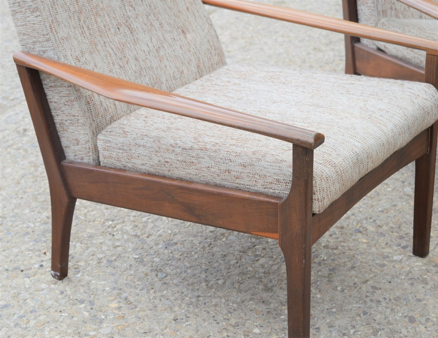 A pair of Mid-Century Danish style teak lounge chairs, 82cm high by 63cm wide by 51cm - Image 2 of 2