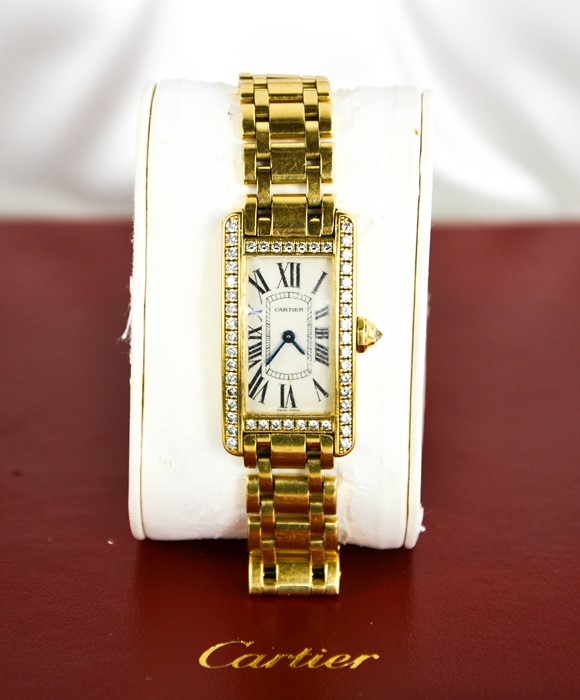 An 18ct gold and diamond Cartier wristwatch, in the Tank Americaine design, silver grained dial - Image 6 of 6