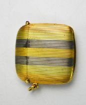 Fine Imperial Russian possibly by Faberge three colour striped gold vesta case of curved rectangular