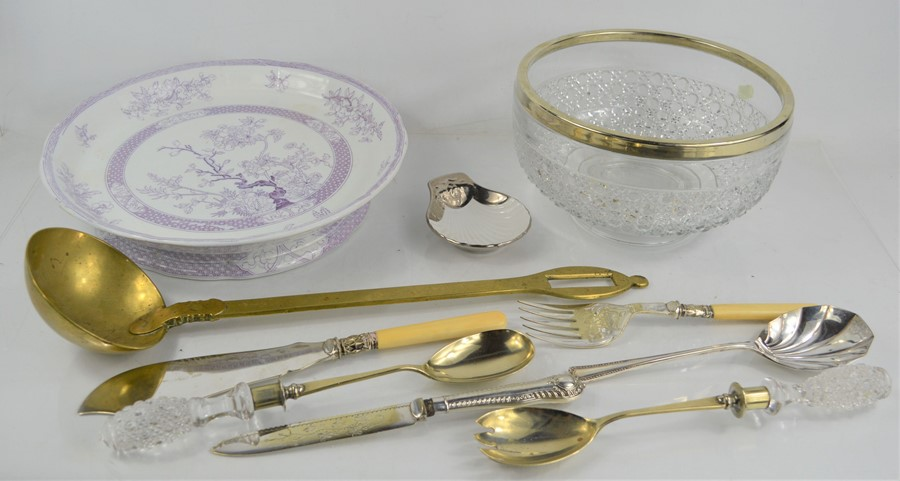 A group of silver plate to include a fish knife and fork, silver plate rimmed glass bowl, Newstone