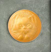 A Lalique glass cat head brooch, in the original box. 4.5cms diameter