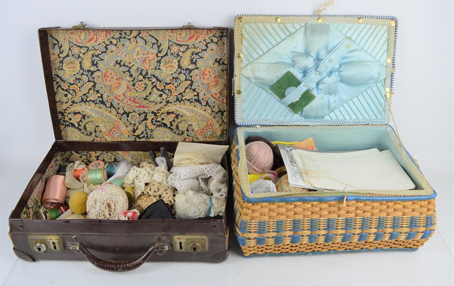 A quantity of vintage sewing accessories and lace in a sewing box and leather case