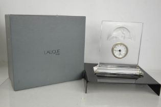 A Lalique glass clock embossed with cat, etched Lalique to the base, with original box. 20cms x