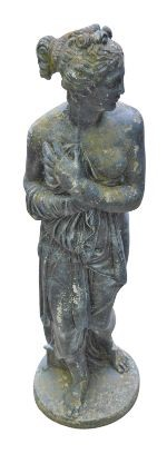 A Classical style garden sculpture, female figure, reconstituted stone. 118cms