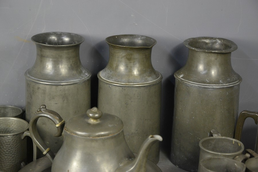 Three 19th century pewter milk canisters, together with other pewter items. - Image 2 of 2