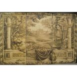 Three large panels depicting sepia country house scene in the antique style, each panel measures 180