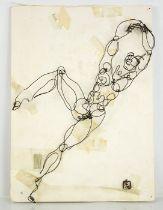 Skye Ferrante 'Man of Wire' (American, 20th century) nude wire sculpture on board, 46cm long. [