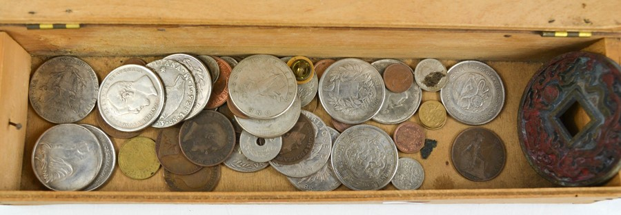 A quantity of coins, and a Chinese tsuba.