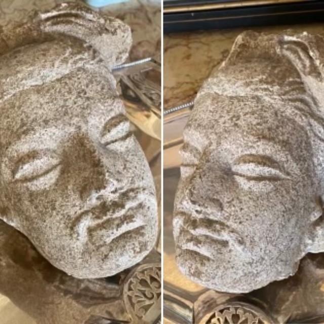 A rare Gandhara carved stone head, circa 2000BC 16cm high. - Image 3 of 6